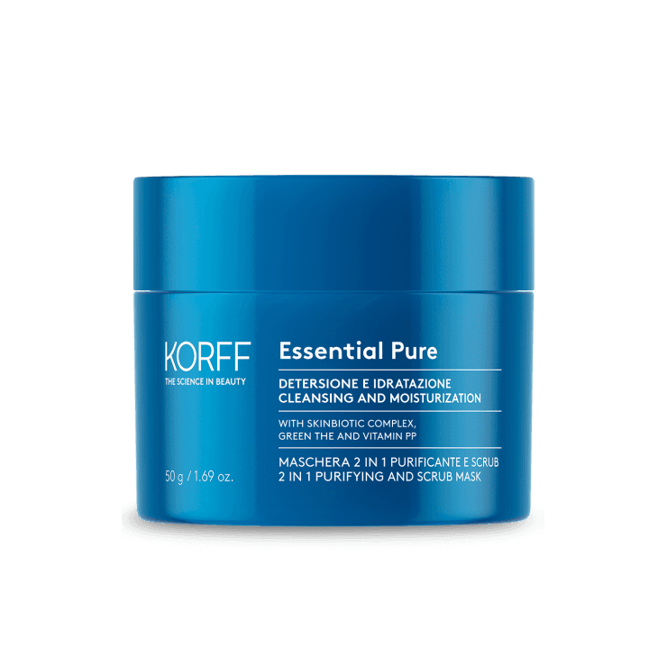 Essential Maschera 2 in 1 Purificante e Scrub - Korff - 50ml - Maschera purificante ed esfoliante pelli normali/miste