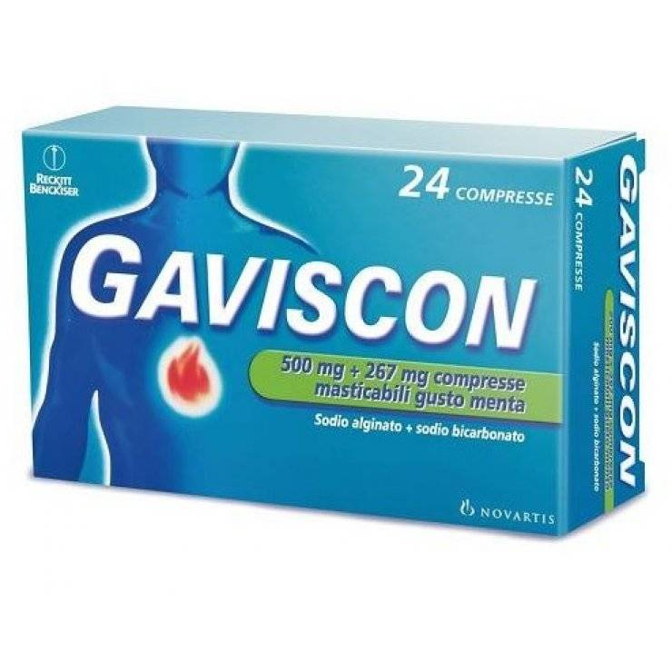 GAVISCON 24CPR MENTA 500+267MG